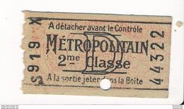 Ticket De Métro De Paris ( Métropolitain ) 2me Classe   Lettre D - Metropolitana
