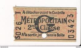 Ticket De Métro De Paris ( Métropolitain ) 2me Classe   Lettre G - Metropolitana