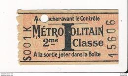 Ticket De Métro De Paris ( Métropolitain ) 2me Classe   Lettre I - Metropolitana
