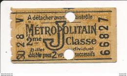 Ticket De Métro De Paris ( Métropolitain ) 2me Classe  Lettre J - Metropolitana