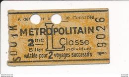 Ticket De Métro De Paris ( Métropolitain ) 2me Classe  Lettre L - Metropolitana