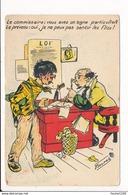 Carte Illustrateur GERMAINE BOURET Le Commissaire ( Peu Courante )   ( Recto Verso ) - Bouret, Germaine