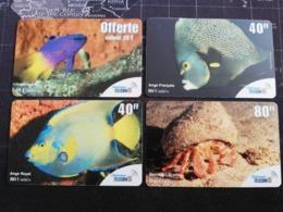 Caribbean ST MARTIN 4 CARDS FISH  PREPAIDS   Outremer Telecom Fine Used Card   **2942 ** - Antilles (Françaises)