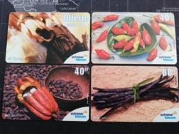 Caribbean ST MARTIN 4 CARDS  SPICES  PREPAIDS   Outremer Telecom Fine Used Card   **2943 ** - Antilles (Françaises)