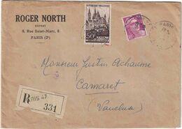 Lettre Recommandée Pour Camaret Vaucluse - Roger North Expert Paris (2e) - Cachet De Cire RN Au Verso - Marcofilia (sobres)