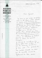 """Lettre En-tête """"Avions Marcel DASSAULT - Base De Cazaux -Arcachon (Gironde) Datée De 1972 Illustrée Silhouette MIRAGE IV - Aviation"""