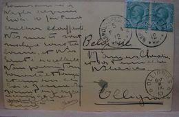 CE. 61. Oblitération étoiles (relais) D'ollignies; 1913 Sur CP Venant De Naples - Marcophilie