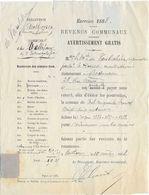 1888 Impôt Sur Les Mines De Vellefaux 70 / Perception Authoison / Marquise De Vaulchier Du Deschaux ) 39 Jura /Timbre 83 - 1800 – 1899
