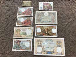 FRANCE: Très Bon Lot De 9 Billets. TTB+/ Sup, Légers Défauts, Forte Cote. - 1871-1952 Gedurende De XXste In Omloop