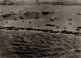 DEBARQUEMENT EN NORMANDIE..VUE AERIENNE DU PONT ARTIFICIEL....CPSM GRAND FORMAT - Weltkrieg 1939-45