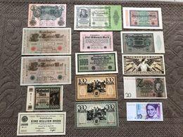 ALLEMAGNE: Bon Lot De 15 Billets 1910/1989. TTB à Neufs - Non Classés