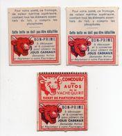 - 3 CHROMOS LA VACHE QUI RIT - CONCOURS DES AUTOS - TICKET DE PARTICIPATION - BON-PRIME - - Trade Cards