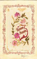 CPA  Brodée     Bonne Année  1906 - Brodées