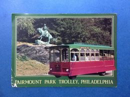 Cartolina Post Card Formato Grande Viaggiata Stati Uniti Usa Philadelphia Pennsylvania Fairmount Park Trolley Tram Bus - Philadelphia