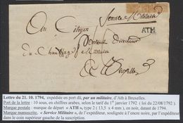 """Précurseur - LAC En Provenance D'Ath Par Un Militaire + Manusc. """"Service Militaire"""" Et Port 10 Sous > Bruxelles. - 1790-1794 (Französische Revolution)"""