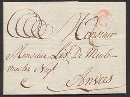 """Précurseur - LAC Datée De Gand (1784) + Lettre """"G"""" Dans Un Cercle Rouge > Négoct. à Anvers. - 1714-1794 (Austrian Netherlands)"""