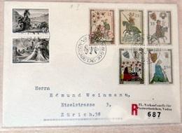 Liechtenstein 1961:  Zu 325+329+349-353 Mi 404-410 Yv 359-363 R-FDC Mit O VADUZ 30.V.61 AUSGABETAG (Zumstein CHF 35.00) - FDC