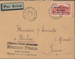 YT Ae 1 Surcharge Réunion France Par Avion Roland Garros CAD St Paul 22 1 37 1ère Liaison Aéropostale Réunion France - Airmail