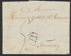 """Précurseur - LAC Datée De Hodimont 12/3/1792 + Lettre """"B"""" Dans Un Cercle Noir Et Port """"2"""" > Tournay. - 1714-1794 (Austrian Netherlands)"""