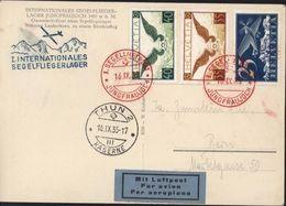 Internationales Segelfliegerlager Cachet I Segelluftpost 16 IX 35 Jungfraujoch + Thun 2 Kaserne 16 IX 35 Mit Luftpost - Posta Aerea