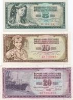 Yougoslavie : Série De 3 Billets : 5 - 10 - 20 Dinara (état : UNC - TB - B) - Joegoslavië
