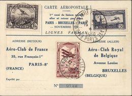 CP Aéropostale 1er Essai Liaison Rapide Aller Retour Avion Paris Bruxelles Farman YT  PA6 + Vignette + YT PA2 Belgique - Marcofilia (sobres)