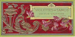 75 PARIS ETIQUETTE CHROMOGRAPHIE GAUFREE PARFUM VIOLETTES DE SAMOS VICTOR VAISSIER - Etiquettes