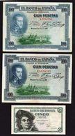 ESPAGNE: Bon Lot De 3 Billets: 2x100 Pts (1925) + 1x5 Pts (1948). Pas De Trou D'épingle, Plis.TTB - [ 2] 1931-1936 : Repubblica