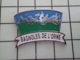 1820 Pins Pin's / Rare & Belle Qualité THEME VILLES / BAGNOLES DE L'ORNE CALECHE CHEVAUX - Villes
