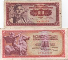 Yougoslavie : Lot De 2 Billets : 100 Dinara 1955 + 1986 (état : Très Mauvais / Mauvais) - Joegoslavië