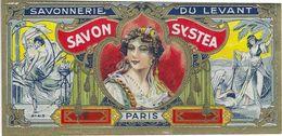 75 PARIS ETIQUETTE CHROMOGRAPHIE PUBLICITE SAVON SYSTEA SAVONNERIE DE LEVANT FEMME TYPE MAURESQUE - Etiquettes