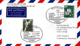 ALLEMAGNE  Lettre Poste Aerienne  1987 1er Vol  LH 5009  Westerland -  Munchen Avions  EMB 120 - Flugzeuge