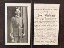 Sterbebild Wk1 Ww1 Bidprentje Avis Décès Deathcard IR Leib Zugeteilt IR3 Juni 1916 Galizien Aus Niederheldenstein - 1914-18