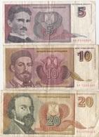 Yougoslavie : Série De 3 Billets : 5 - 10 - 20 Dinara 1994 (état : Mauvais X 3) - Joegoslavië