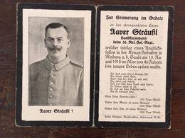 Sterbebild Wk1 Ww1 Bidprentje Avis Décès Deathcard RIR36 NINBURG A.d. SAALE Unglücksfall Kriegsindustrie - 1914-18