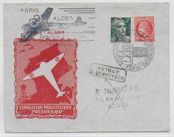 POSTE AERIENNE - 1946 - ENVELOPPE ILLUSTREE Du SALON Du PRISONNIER - VOL SPECIAL ALGER à PARIS - - 1927-1959 Lettres & Documents