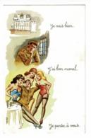 """Carte Illustrée Carrière - Humour Militaire """" Jevais Bien, J'ai Le Moral, Je Pense à Vous """" Pas Circulé - Carrière, Louis"""