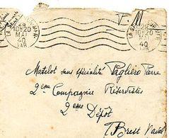 C12 1940 Lettre En  FM Du Dépot Des Réservistes Brest Naval - Correo Naval