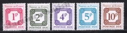 Tristan Da Cunha 1977 Yvert TAX 11-15, Postal Tax Stamps. Numbers - MNH - Tristan Da Cunha