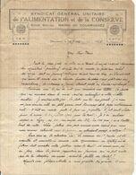 DOUARNENEZ . LETTRE ENTETE SYNDICAT .G. U ALIMENTATION ET CONSERVE . 1925 - Alte Papiere