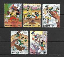 Disney Set Bhutan 1985 Disney Characters In Twain Stories MNH - Disney