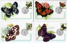 Yugoslavia 2000 Fauna, Butterflies, Insects, 4 Maxicards - 1992-2003 República Federal De Yugoslavia
