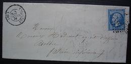 Valognes 1863 GC 4091 (Manche), Lettre  Pour Bolbec - 1849-1876: Klassieke Periode