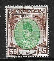 MALAYA - PERLIS 1951 $5 SG 27 TOP VALUE OF THE SET FINE USED Cat £140 - Perlis