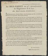 """LAC Imprimée """"Le Sous Préfet Du 4e Arrondissement Du Département De La Lys"""", Courtray Le 16 Vendémiaire An XI - 1794-1814 (French Period)"""