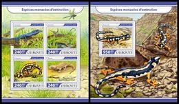 DJIBOUTI 2017 - Lizards & Salamanders - YT 1548-51 + BF195; CV=40 € - Reptiles & Amphibians