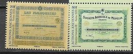 FRENCH POLYNESIA, 2020, MNH, FINANCE, OLD SHARES, TITLES, 2v - Sellos