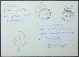 Norway - Postcard To Belgium 1988 Fauna 3,80K Solo - Norwegen
