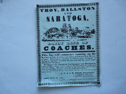 AFFICHE : Troy, Ballston And Saratoga - Daily Line Of Coaches - Manifesti
