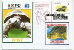MONACO EXPO UNIVERSELLE MILAN 2015 Lettre Du Pavillon Monégasque L'EXPO à MILAN, Avec Timbre WWF De MONACO - Turtles